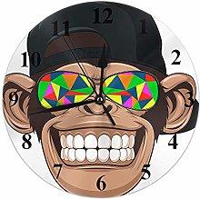 Monkey Clock Animal Chimp Funny Monkey Head with