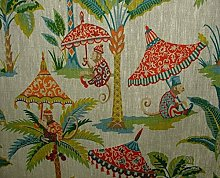 Monkey Parasol French 100% Linen Fabric Curtain