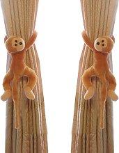 Monkey Pattern Nursery Curtain Hooks 2 Pack-Brown