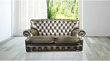 Monks Chesterfield 2 Seater Antique Green Leather