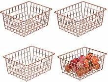 Monland Rose Gold 4 Pack Wire Basket Set,Storage