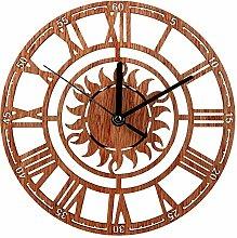 Monllack Creative Retro Wooden Wall Clock Living