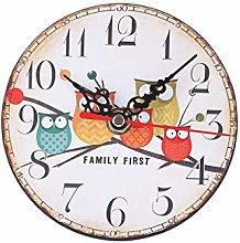 Monllack Round Imitation Wood Small Alarm Clock