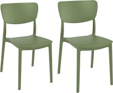 Monna Olive Green Dining Chair - Set of 2