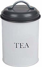 Monsoon Airtight Tea Canister White & Grey Barrel