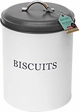 Monsoon Biscuit Tin White & Grey Airtight Round