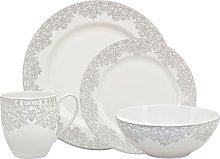 Monsoon Filigree Silver 16 Piece Tableware Set