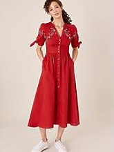 Monsoon Floral Embroidered Linen Dolly Dress - Red