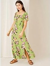 Monsoon Green Floral Sweetheart Dress