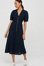 Monsoon Organic Cotton Linen Dress - Navy