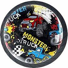 Monster Truck Car On Grunge Cabinet Door Knobs