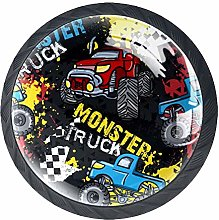 Monster Truck Car On Grunge Cabinet Door Knobs