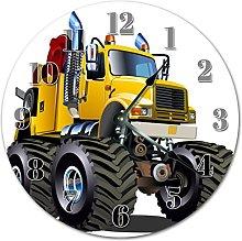 Monster Truck Cartoon Wooden Wall Clock Silent