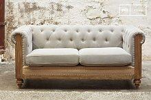 Montaigu 2-seater grey Chesterfield sofa