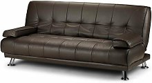 Montana Sofa Bed 3 Seater Faux Leather Black Brown