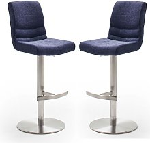 Montera Blue Gas Lift Bar Stool In Pair With Steel
