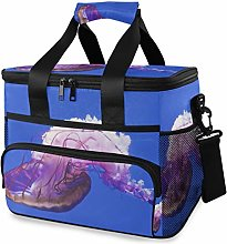 MONTOJ Beautiful Purple Jellyfish Tote Cooler Bag