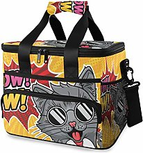 MONTOJ Cool Cat Tote Cooler Bag Lunch Bag for