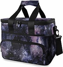 MONTOJ Dark Purple Galaxy Painting Tote Cooler Bag