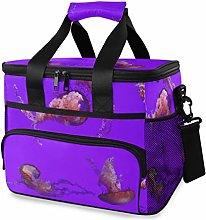 MONTOJ Pink Jellyfish Tote Cooler Bag Lunch Bag