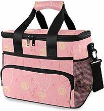 MONTOJ Pink Strawberries Tote Cooler Bag Lunch Bag