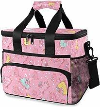 MONTOJ Pink Unicorns Tote Cooler Bag Lunch Bag for