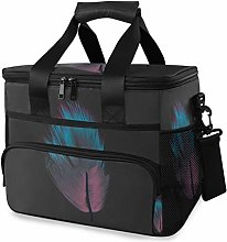 MONTOJ Purple and Blue Feather Tote Cooler Bag