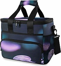 MONTOJ Purple Clear Jellyfish Tote Cooler Bag