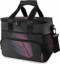 MONTOJ Purple Feather Tote Cooler Bag Lunch Bag