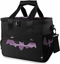 MONTOJ Purple Halloween Bat Tote Cooler Bag Lunch