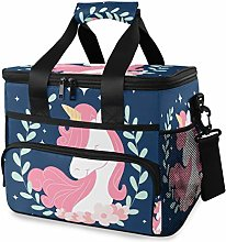 MONTOJ Purple Pink Unicorn Tote Cooler Bag Lunch