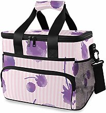 MONTOJ Purple Roses Tote Cooler Bag Lunch Bag for