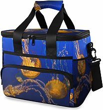 MONTOJ Shiny Yellow Jellyfish Tote Cooler Bag