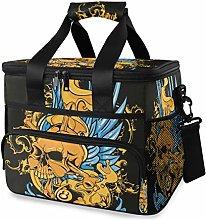 MONTOJ Yellow Skull Blue Wings Tote Cooler Bag