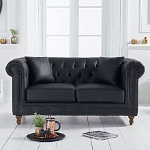 Montrose Leather 2 Seater Sofa In Black