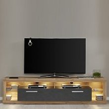 Monza Lowboard TV Stand In Wotan Oak And Matera