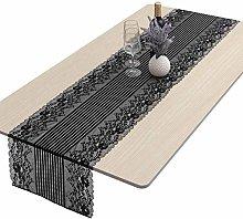 mookaitedecor Black Lace Table Runner for Wedding