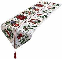 mookaitedecor Christmas Table Runner White,Flower