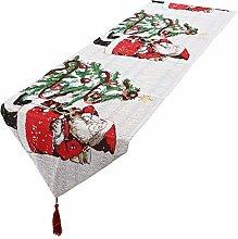 mookaitedecor Christmas Table Runner White,Santa