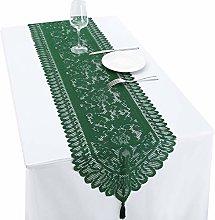 mookaitedecor Lace Table Runner Green for Wedding