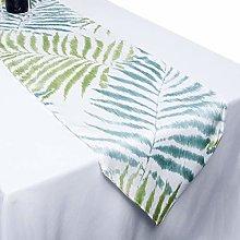 mookaitedecor Polyester Blue & Green Leaves Table