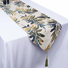 mookaitedecor Polyester Green Leaves Table Runner