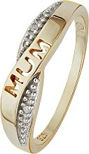 Moon & Back 9ct Gold Plated Diamond Accent Mum