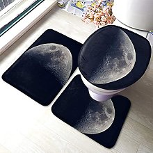 Moon Bathmat,Space Planet Moon 3 Piece Bathroom