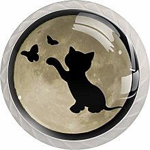 Moon Cat Round Cabinet Knobs 4pcs Knobs for