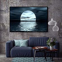 Moon Phases Canvas Painting Landscape Nordic Black