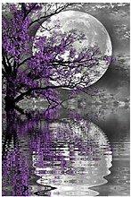 Moon Purple Landscape Tree-5D Diamond Painting