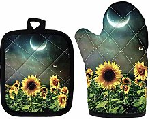 Moon Sunflower Heat Resistant Oven Mitt Set, Oven