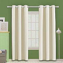 MOOORE Beige Bedroom Blackout Curtains, Eyelet