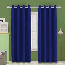 MOOORE Blue Bedroom Blackout Curtains, Eyelet Ring